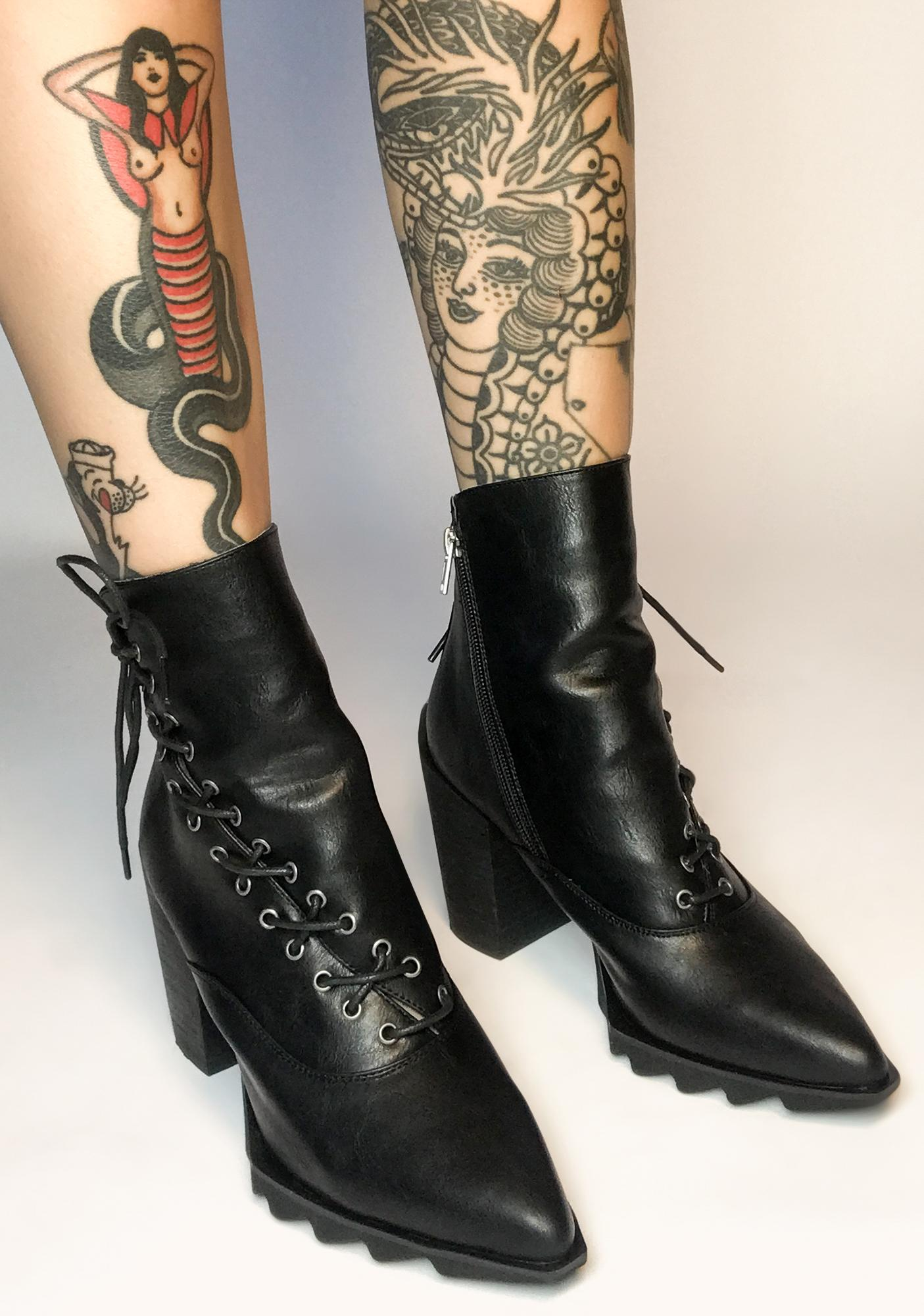 Lamoda Wicked Prankster Lace Up Booties