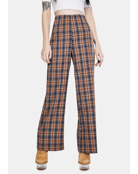 Checkered Wide Leg Trousers