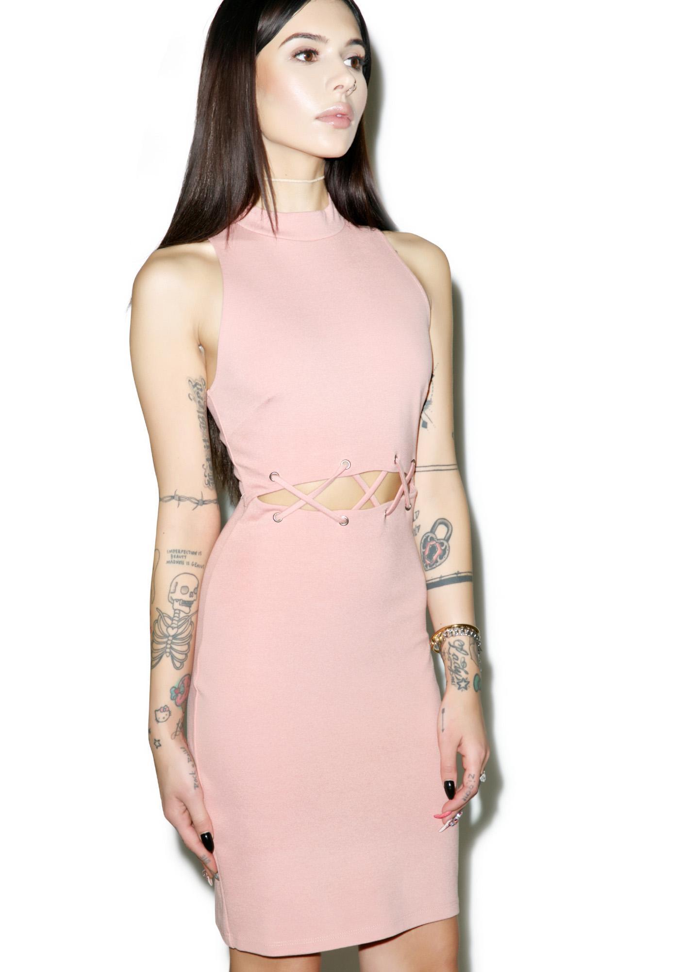 Rose Quartz Cutout Midi Dress
