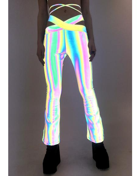Flashed Reflective Lo Rise Flare Pants