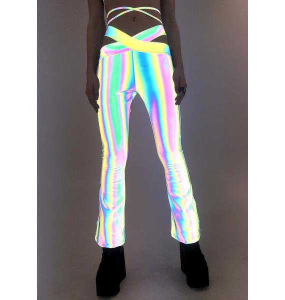 Ivy Berlin Flashed Reflective Lo Rise Flare Pants