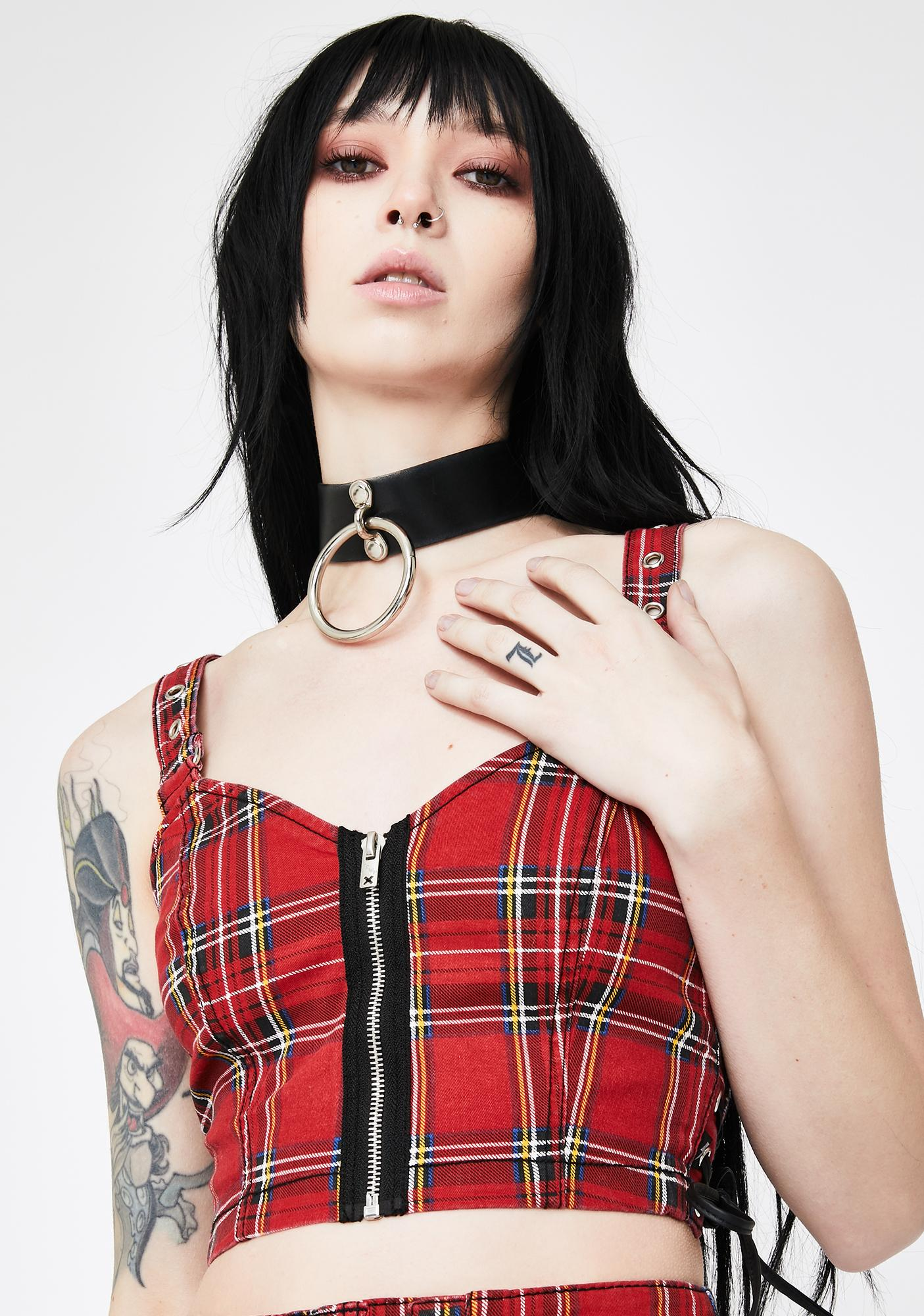 Tripp NYC Red Plaid Side Lace-Up Crop Top