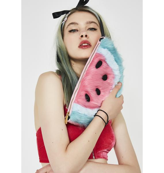 Skinnydip Furry Watermelon Clutch