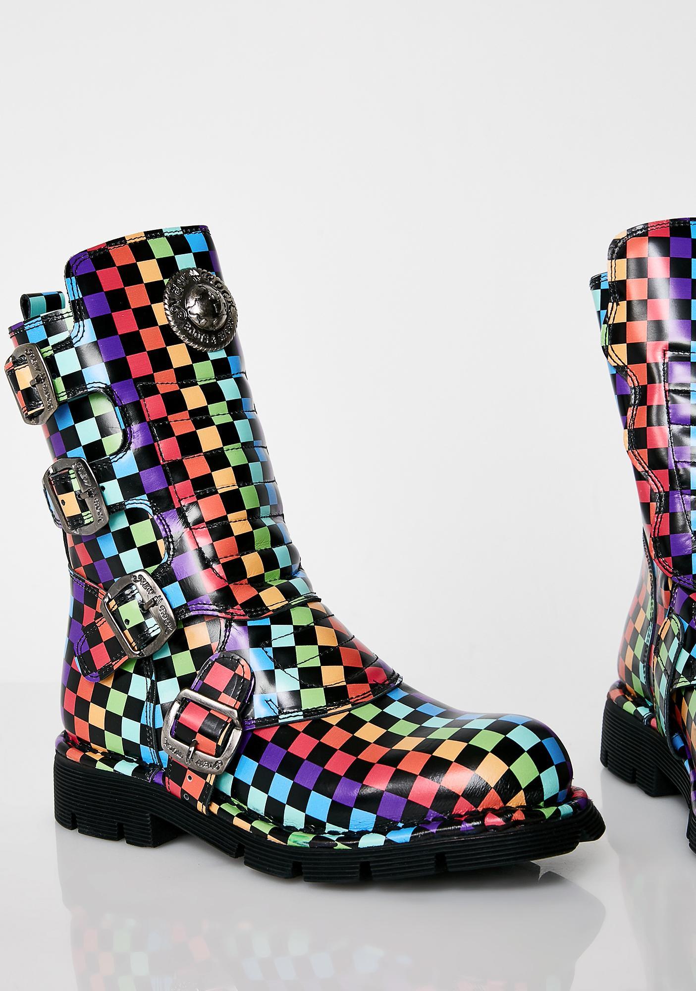 New Rock Rainbow Chess Boots