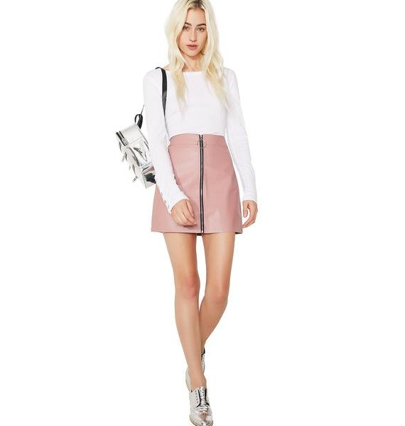 Rose Zip It Mini Skirt