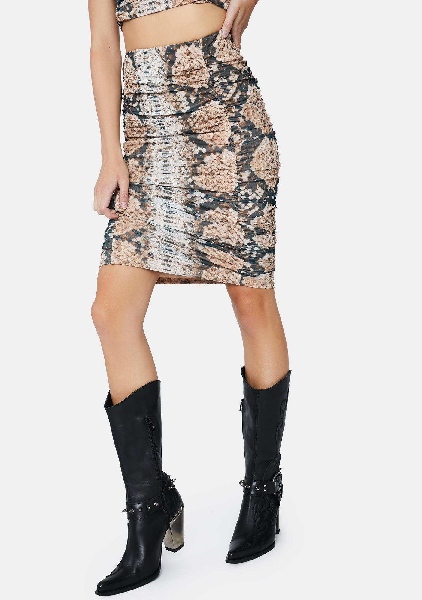 AFRM Placement Snake Venice Midi Skirt
