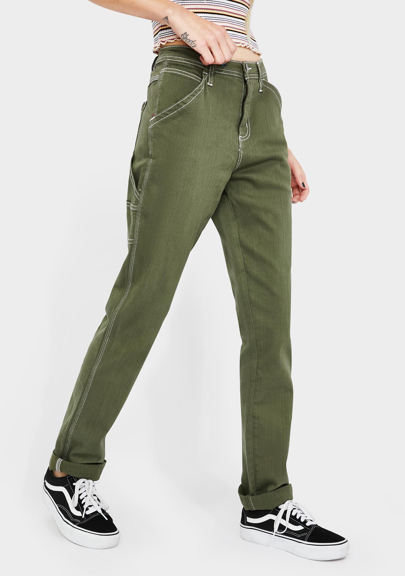 Dickies Girl Olive Slim Rolled Hem Carpenter Pants