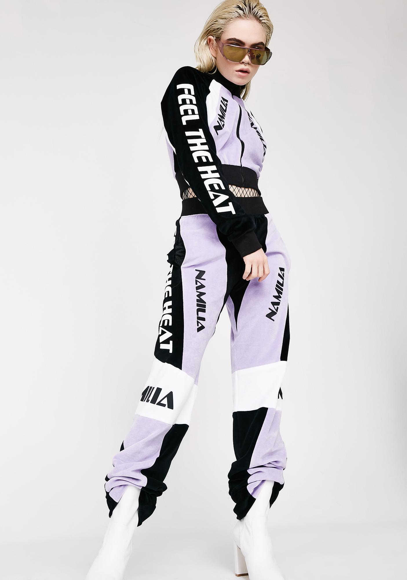 Namilia Lavender Velour Motocross Crop Jacket