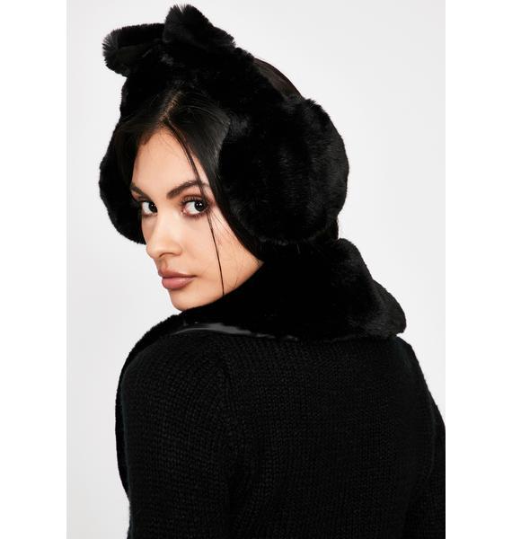Night Snow Kitty Fuzzy Earmuffs