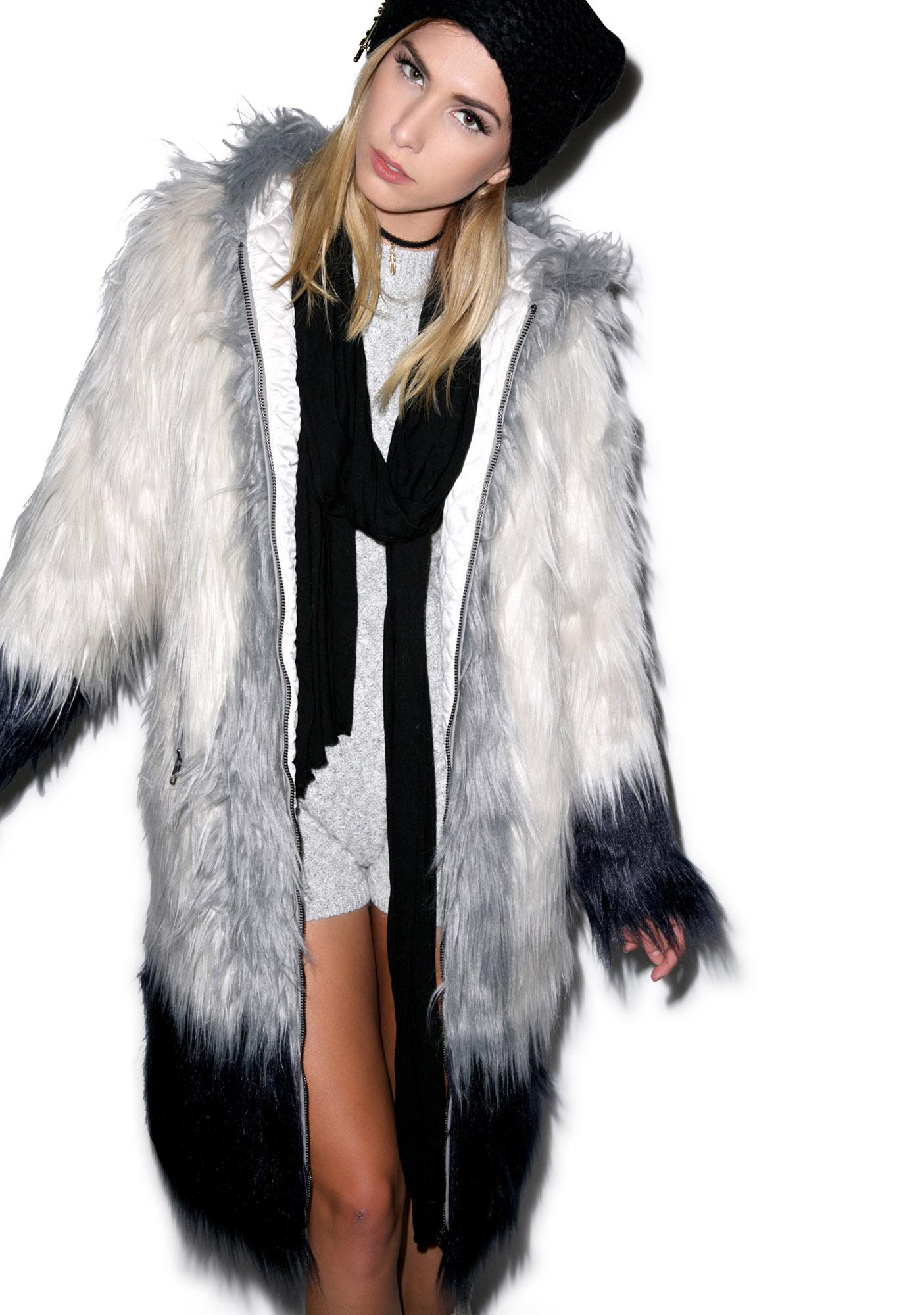 Chaser Hooded Faux Fur Coat