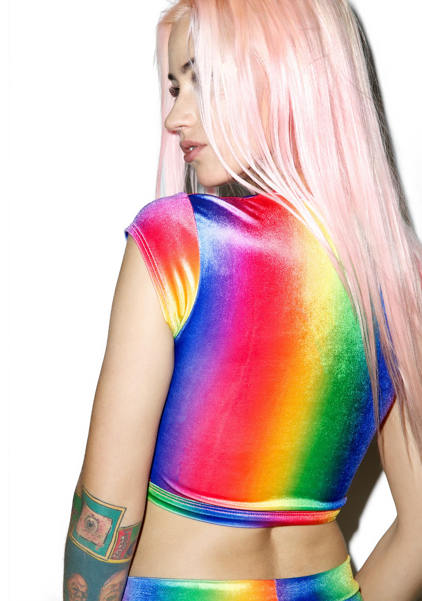 J Valentine Rainbow Velvet Crop Top