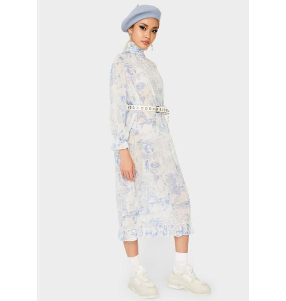 NEW GIRL ORDER Long Sleeve Mesh Midi Dress