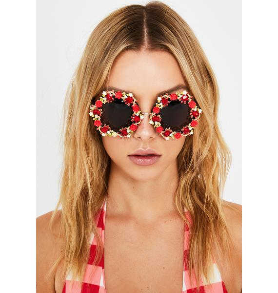 Scarlet Blooming Lily Circle Sunglasses