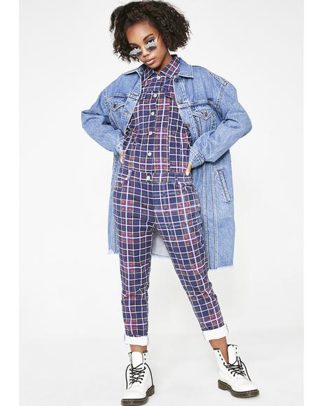 Grunge Gang Plaid Jumpsuit