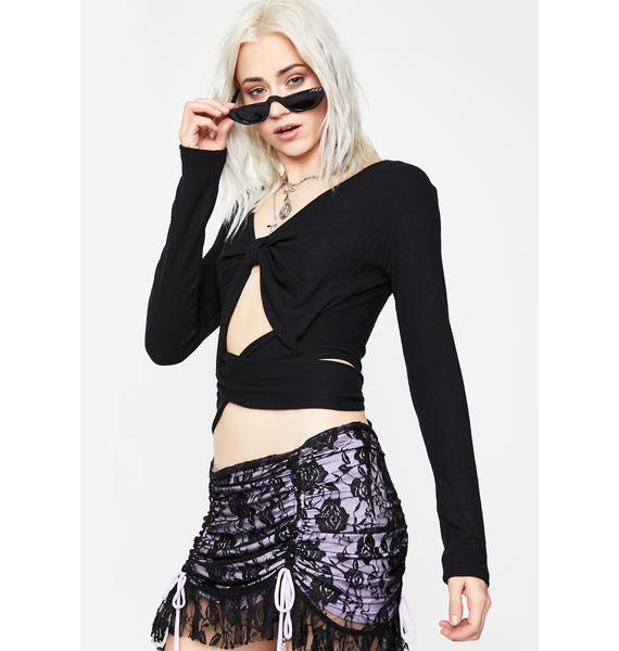 Crow Take A Peak Keyhole Crop Top