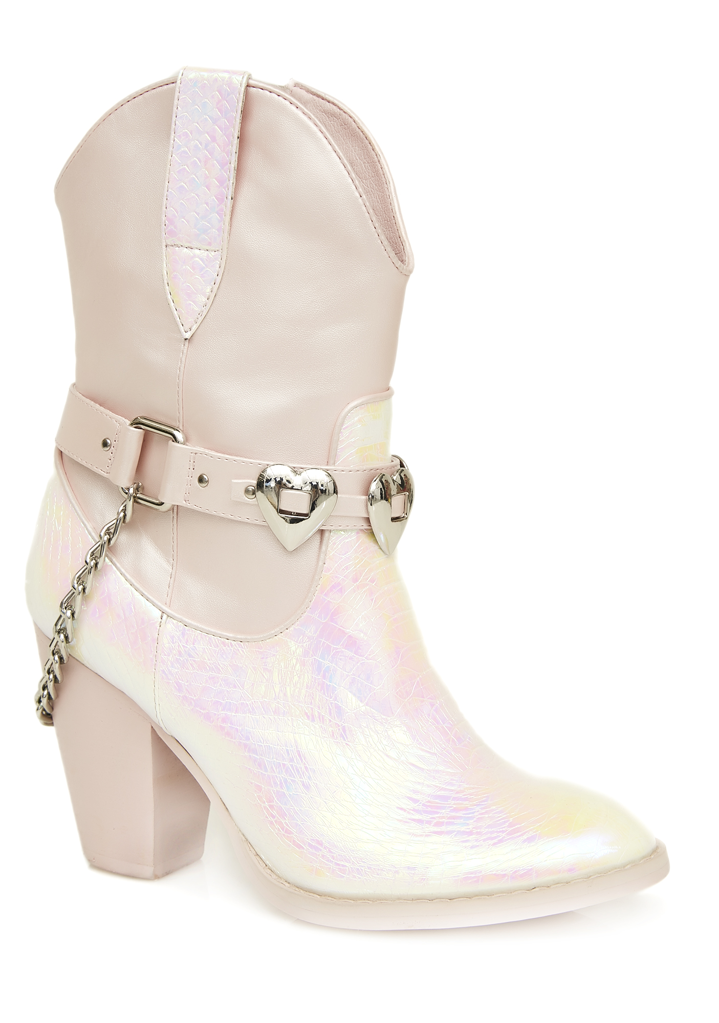 White Iridescent Heart Cowgirl Boots