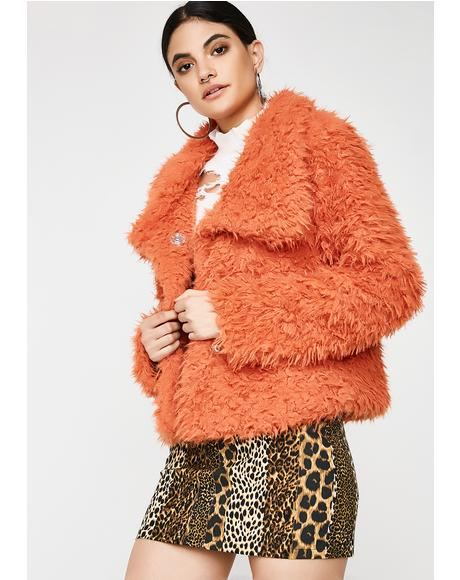 Funky Bright Eyes Fuzzy Jacket