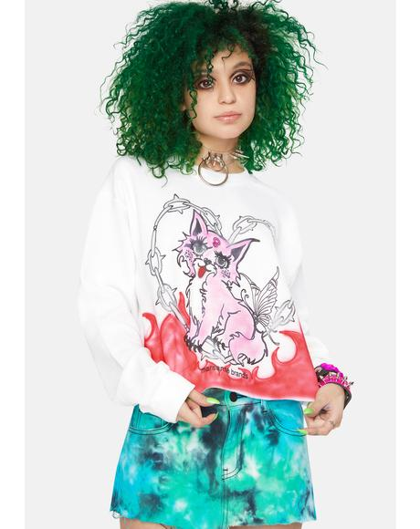 Kitty Power Cropped Crewneck