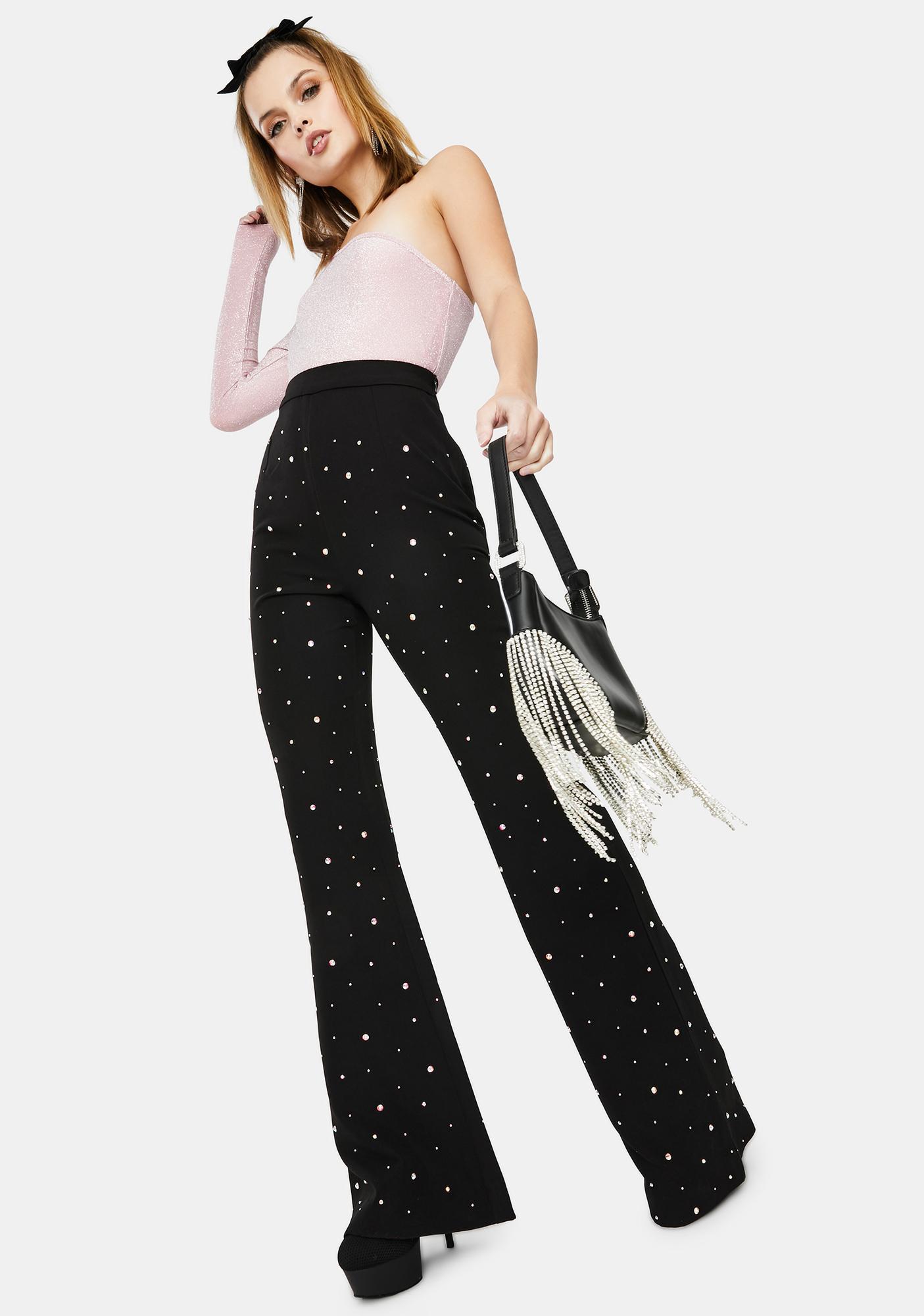 RARE LONDON Diamante Flared Trousers