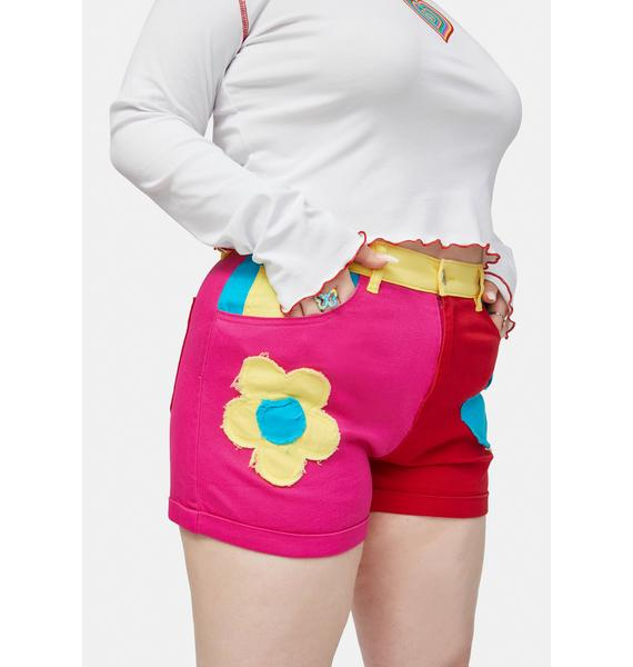 dELiA*s by Dolls Kill Her Free Luv Nation Colorblocked Applique Twill Shorts
