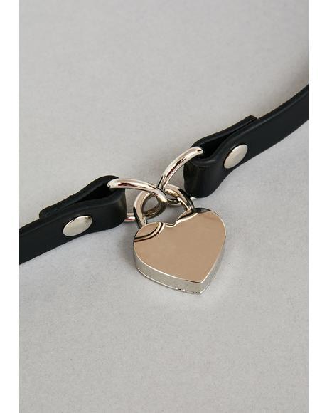 Silver Heart Lock Choker