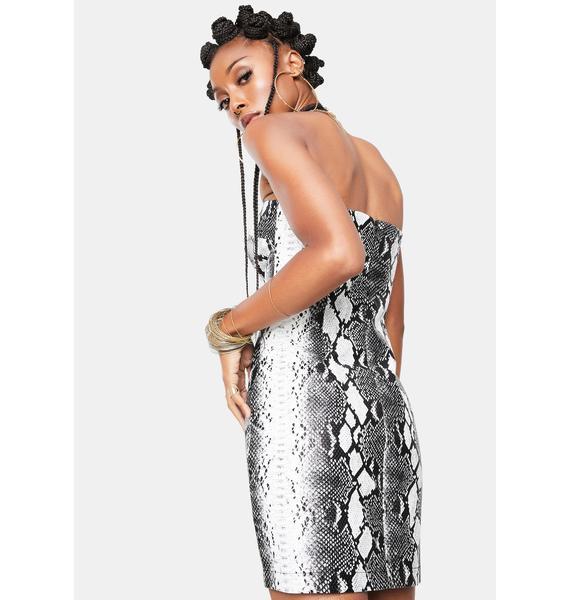 Re Named Natalie Snake Mini Dress