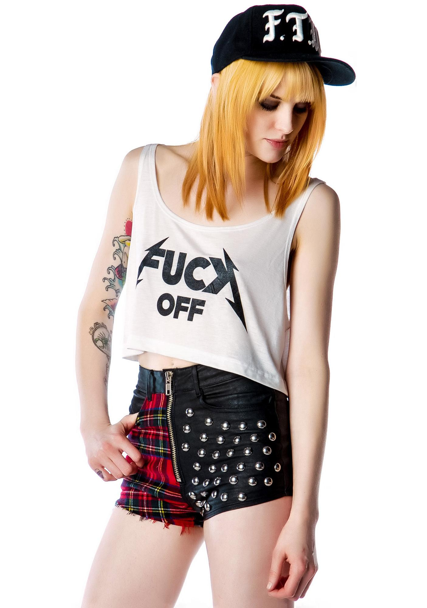 United Couture Fuck Slayer Off Cropped Tank
