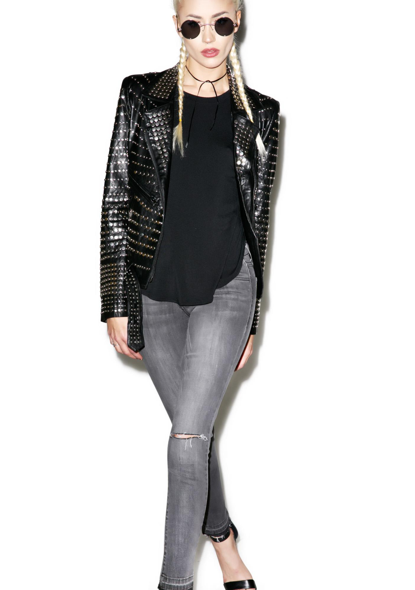 Nia Nail Head Leather Jacket