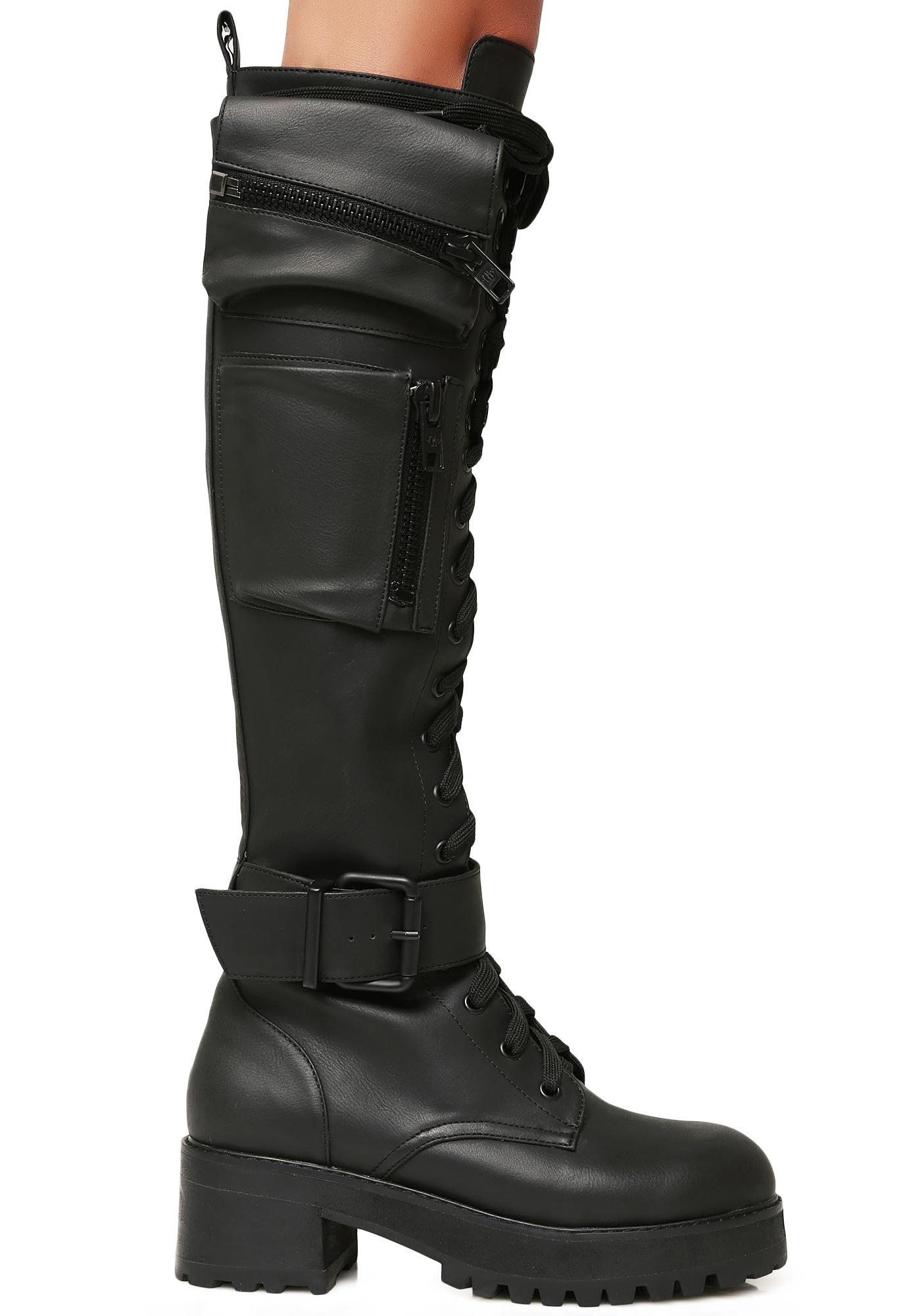 d088b1c1295 Current Mood Pocket Knee High Combat Boots