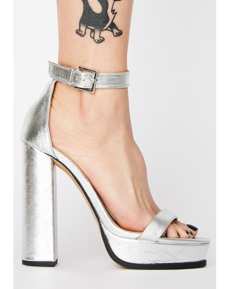 Silver Rachel Platform Heels