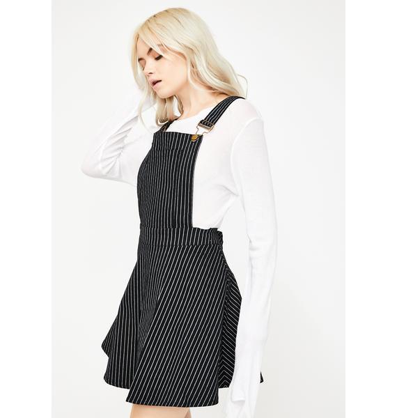 Jawbreaker Pinstripe Overall Mini Dress