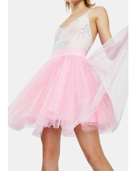 Pink Layered Tulle Mini Skirt