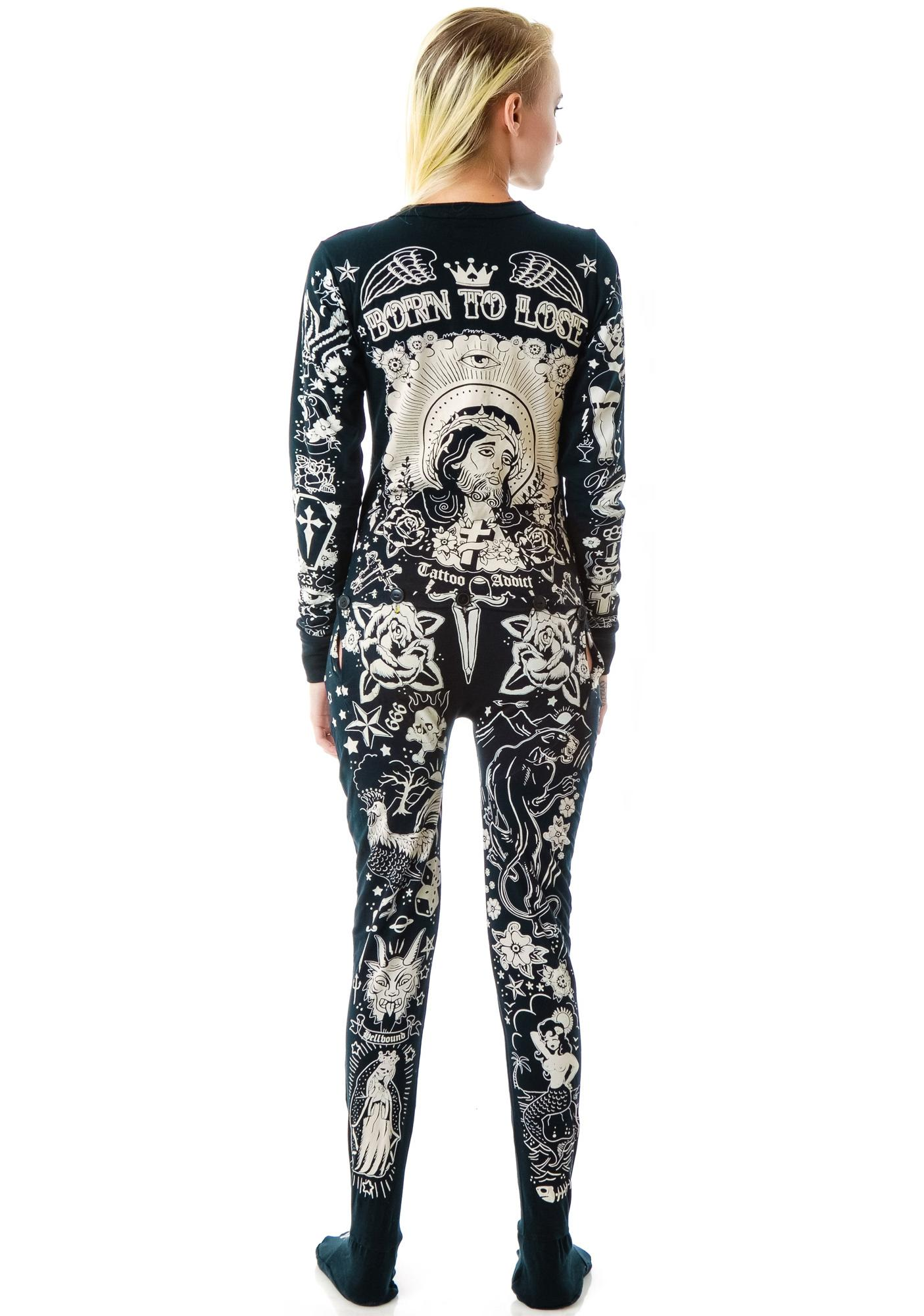 fa2b6d6d3 Too Fast Tattooed Skelly Footed Pajamas