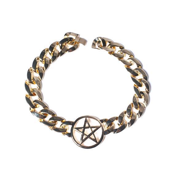 Rock n Rose Pentagram Chain Choker