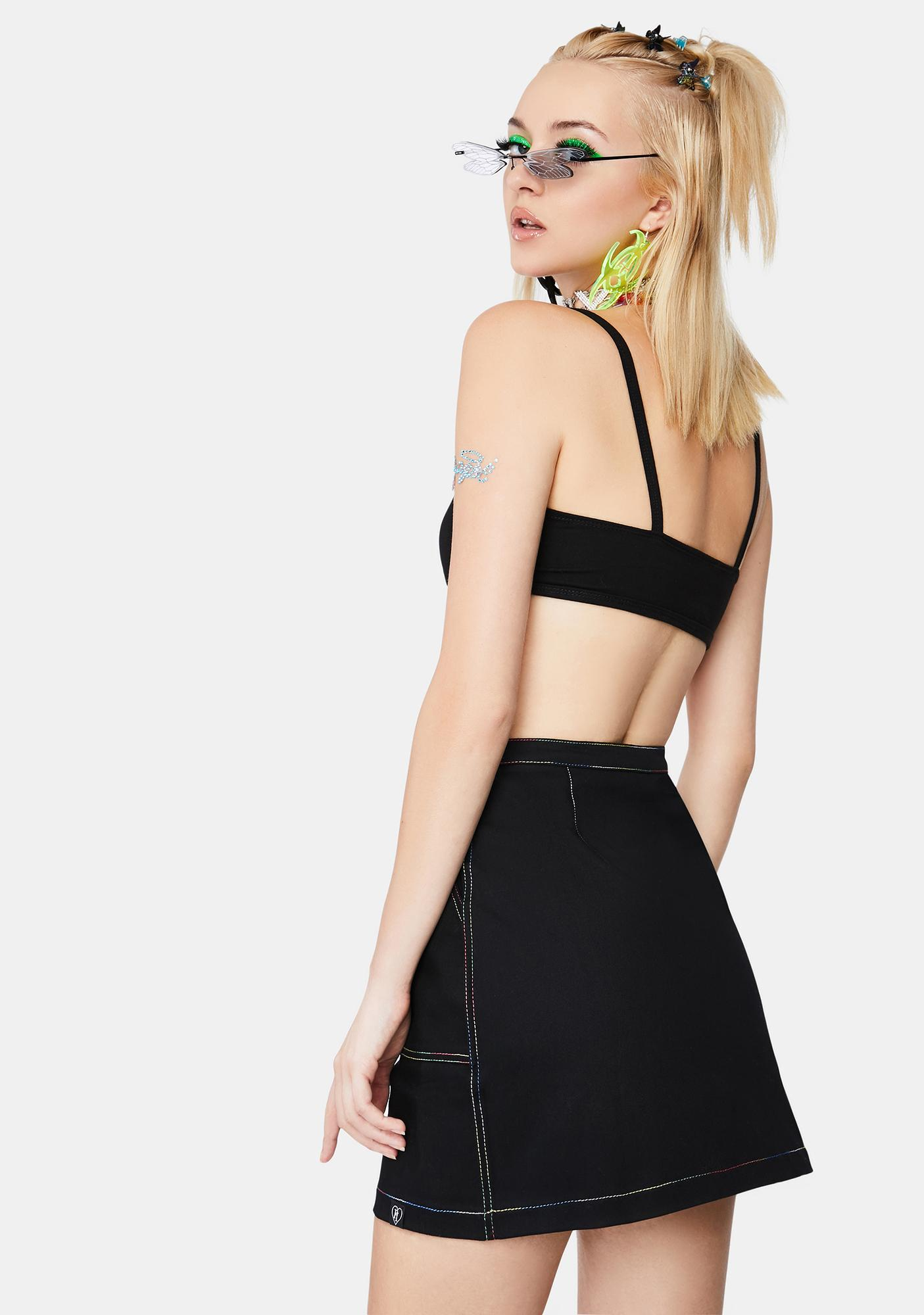 Fearless Illustration Stitched Up Mini Skirt