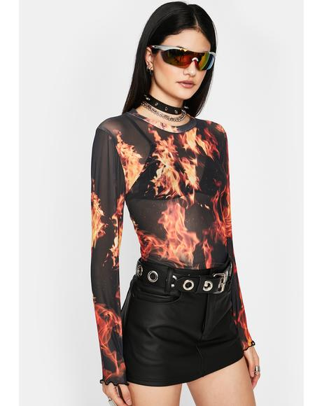 Fire Me Up Mesh Top