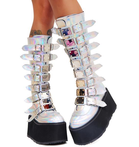 Demonia Iridescent Hologram Morpheus Platform Boots