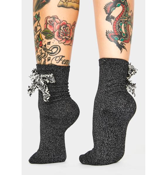 MeMoi Glitter Dream Bow Ankle Socks