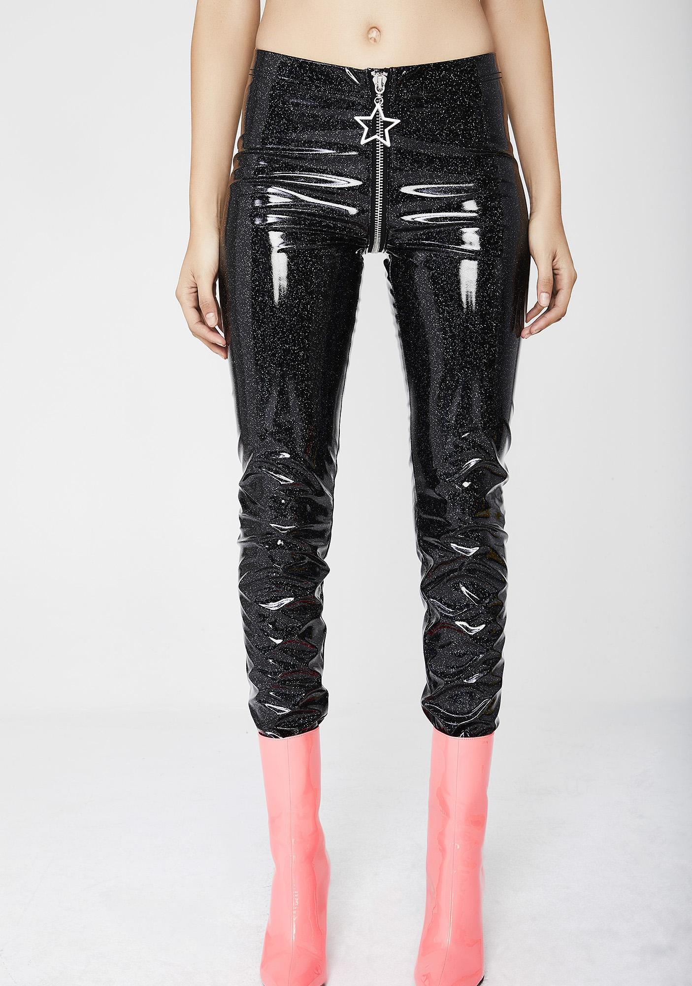 Current Mood Stardust Glitter Vinyl Leggings