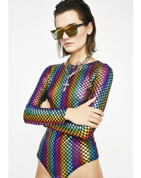 Prismatic Baddie Checkered Bodysuit