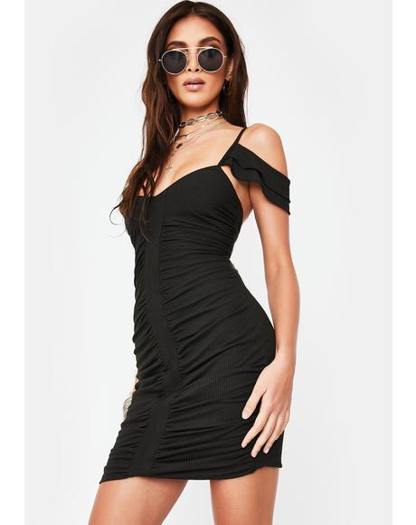 Ribbed Ruched Mini Dress