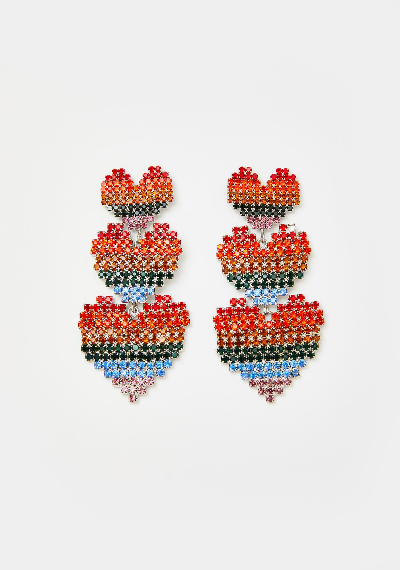 Prismatic Perfection Heart Earrings
