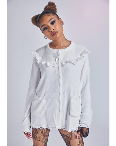 Blanc Seek Me Out Velvet Button Down Top