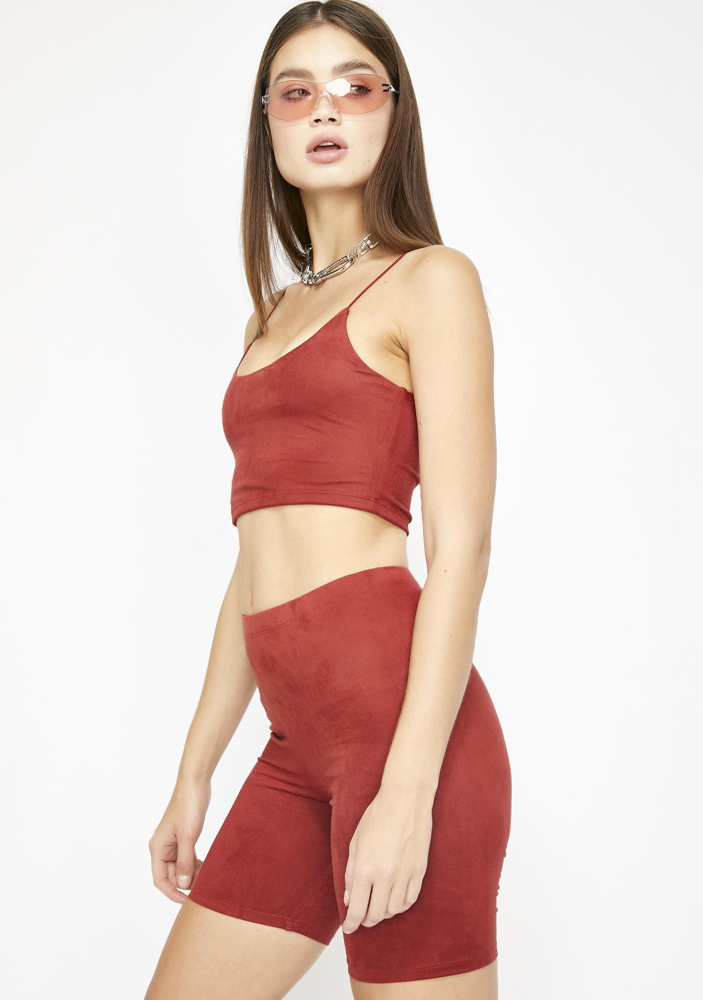 Crimson Affair Biker Shorts Set