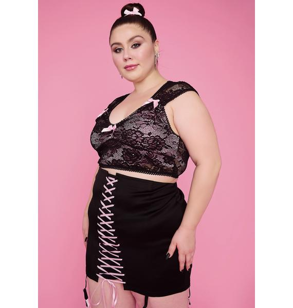 Sugar Thrillz Plz Watch Me Jete Lace-Up Skirt