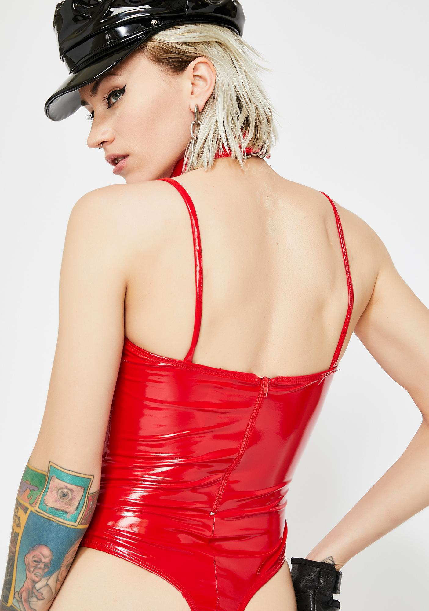 Flaming Villainous Vixen Vinyl Bodysuit