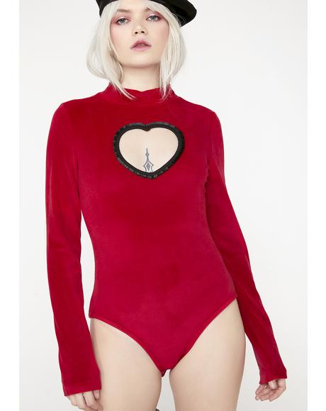 Heart Cut Out Velvet Bodysuit