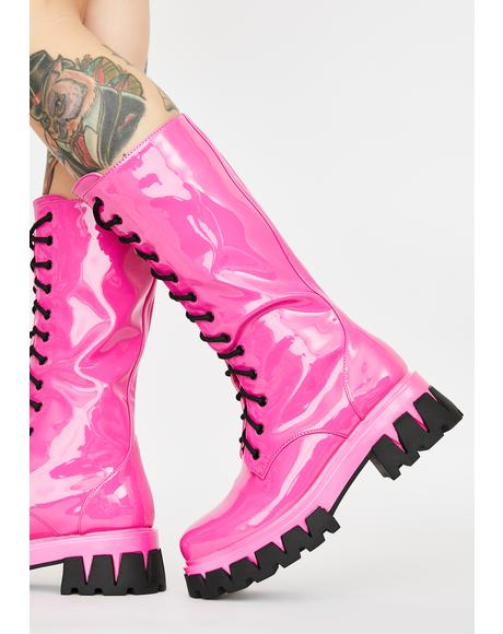 Pink Trinity Patent Calf High Boots