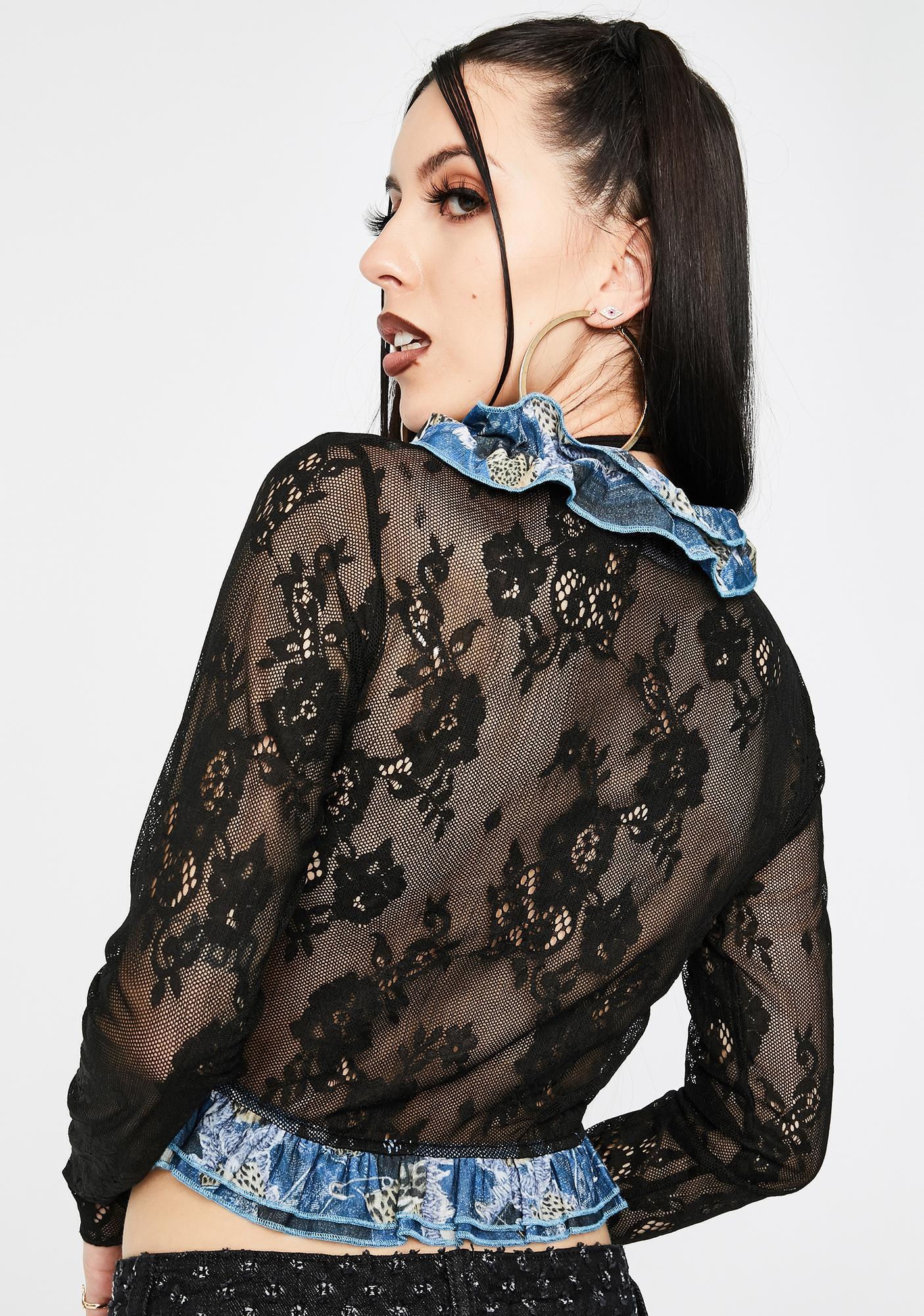 Jaded London Lace Patchwork Denim Ruffle Crop Top