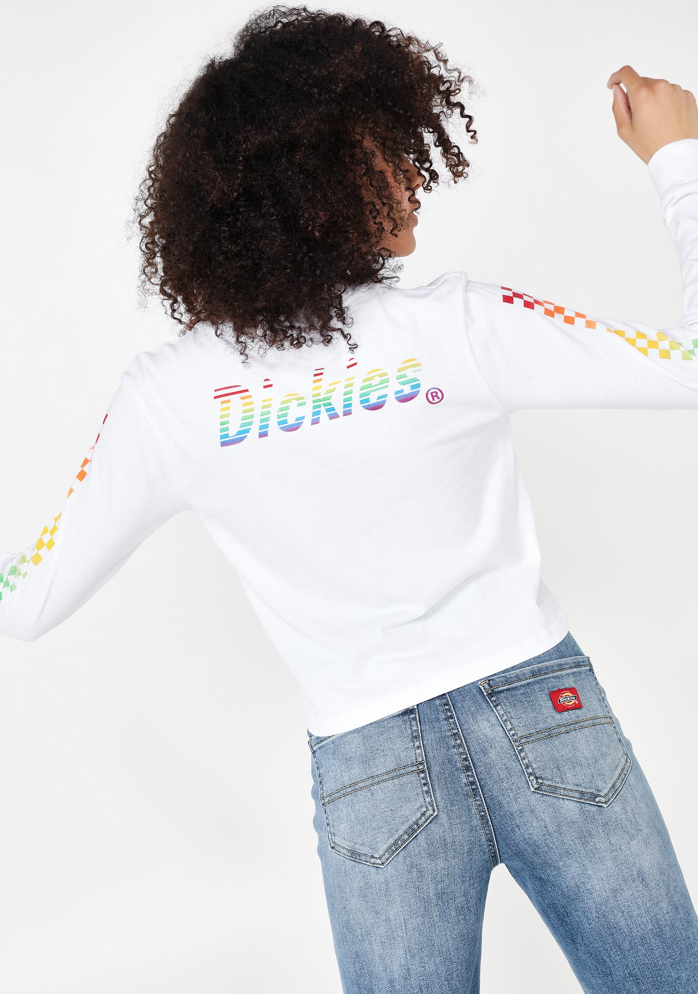 Dickies Girl Long Sleeve Checkered Rainbow Tee